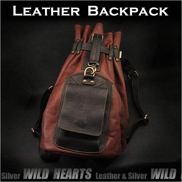 ボディバッグ 巾着型リュック/バッグ ショルダーバッグ ホースレザー/馬革Genuine Horsehide Leather Backpack Rucksack Shoulder Bag 2-WAY Gym Bag WILD HEARTS Leather & Silver (ID bb2788b10)