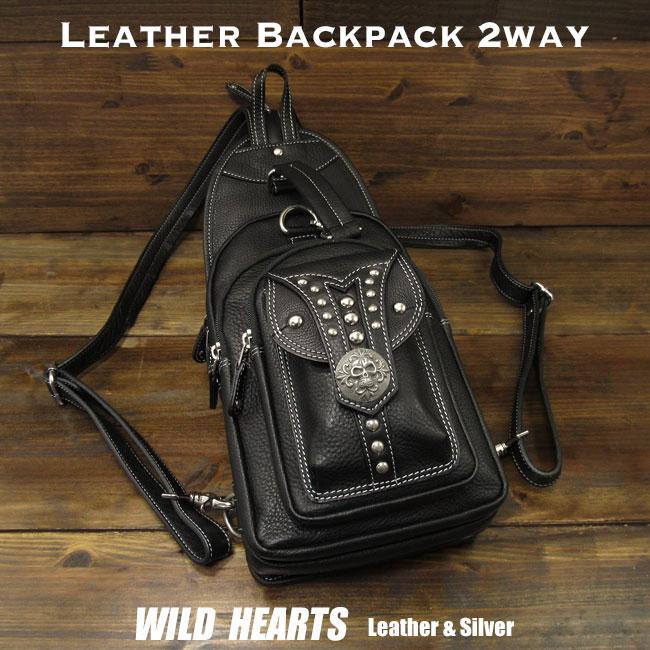 送料無料 メンズバッグ レザーボディバッグ ワンショルダーバッグ リュック Leather Backpack Travel Shoulder Sling Chest Bag 2-WAY BlackWILD HEARTS Leather&Silver (ID bb3346t14)