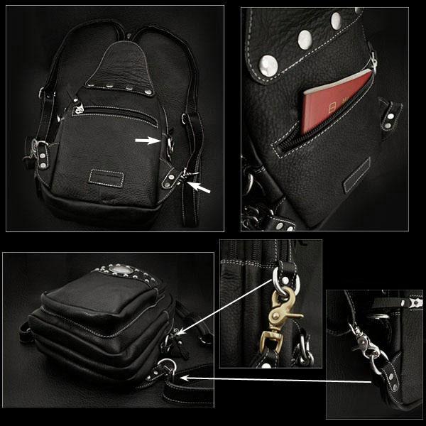 两种袋 背包或肩背包 真皮 肩背包 2-WAY Bag Backpack or Shoulder Bag Genuine Leather Shoulder Sling Bag WILD HEARTS Leather&Silver (ID bb2569t52)