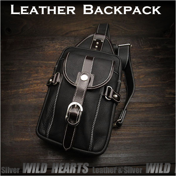 送料無料 レザーボディバッグ ワンショルダー バックパックGenuine Cowhide Leather Backpack Shoulder Sling Travel Bag BlackWILD HEARTS Leather&Silver (ID bb3444b48)