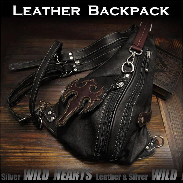 ボディバッグ ワンショルダーバッグ レザー リュック 2WAYバッグ 革 Leather Backpack Shoulder Sling Travel Bag shoulder purse UnisexWILD HEARTS Leather&Silver (ID bb2981t24)