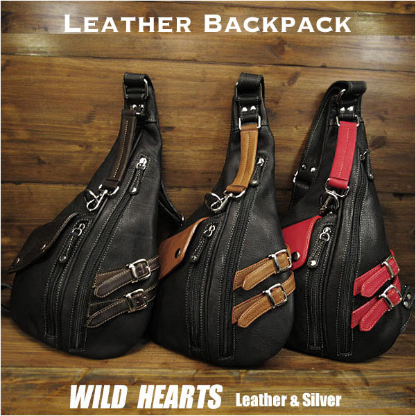 ボディバッグ ワンショルダー バックパック リュック 3色 レザー/本革 Leather Backpack Shoulder Sling Travel Bag shoulder purse UnisexWILD HEARTS Leather&Silver (ID bb3778t24)