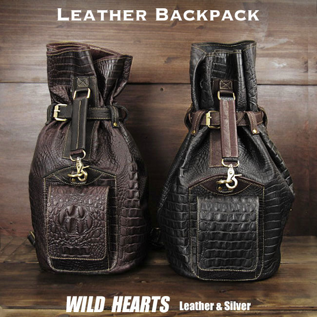 送料無料 メンズ バックパック 巾着タイプ ボディバッグ ジムバッグ リュック ブラック Crocodile Embossed Leather Travel Backpack Rucksack Shoulder Bag Gym Bag School Bag Black DarkBrownWILD HEARTS Leather&Silver (ID bb3509b42)