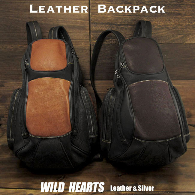 レザーリュックサック ボディバッグ リュック ディパック 大容量Genuine Leather Backpack Shoulder Sling Bag Sling Backpack Travel Bag 2WAY 2colors WILD HEARTS Leather&Silver(ID bp3958t2)