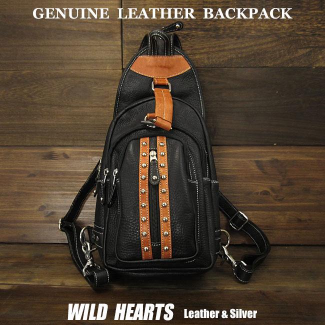 ワンショルダーバッグ ボディバッグ 斜めがけショルダーバッグ レザー/本革 リュック 2WAY ブラックLeather Backpack Travel Shoulder Sling Chest Bag 2-WAY BlackWILD HEARTS Leather&Silver (ID bb3141b27)