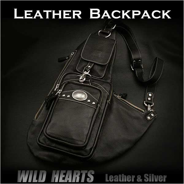 75d091533e37 Genuine Leather Backpack Shoulder Chest Pack Daypack Sling Bag Black WILD  HEARTS Leather&Silver (Item ID bb2113t21)