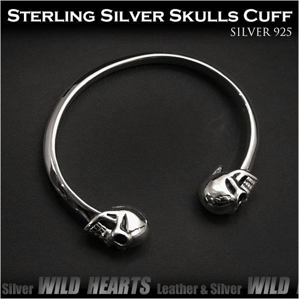 バングル ブレスレット カフ シルバー925 スカル/ドクロ メンズアクセサリー Skull Sterling Silver 925 Cuff bracelet BangleWILD HEARTS (ID sb3405r79)