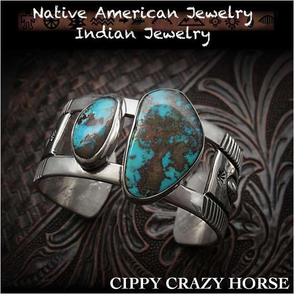 新品 シッピー・クレイジー・ホース/Cippy Crazy Horse バングル ブレスレットアパッチブルー ターコイズ インディアンジュエリー シルバー925 ユニセックスCippy Crazy Horse cuff Apache Blue Turquoise Indian Jewelry Sterling Silver (ID na3189r73)