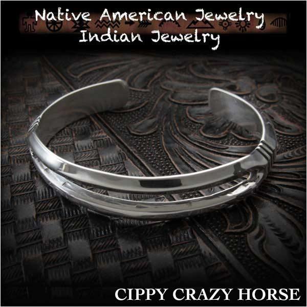 新品 シッピー・クレイジー・ホース/Cippy Crazy Horse バングル ブレスレットインディアンジュエリー シルバー925 ユニセックスCippy Crazy Horse cuff Indian Jewelry Sterling Silver (ID na3191r73)