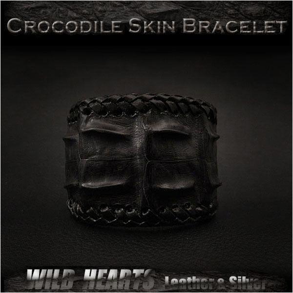 クロコダイル バングル ブレスレット リストバンド ワニ革 牛革/レザー ブラック/黒Crocodile Skin Leather Bracelet Wristband Cuff Bangle BlackWILD HEARTS Leather&Silver (ID lb3119r93)