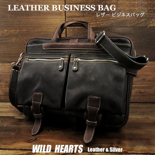メンズ  カジュアル 本革/レザー ビジネス バッグ ショルダー ブラック 2WAY Casual Laptop Messenger Briefcase BlackWILD HEARTS Leather&Silver (ID bb3757t53)