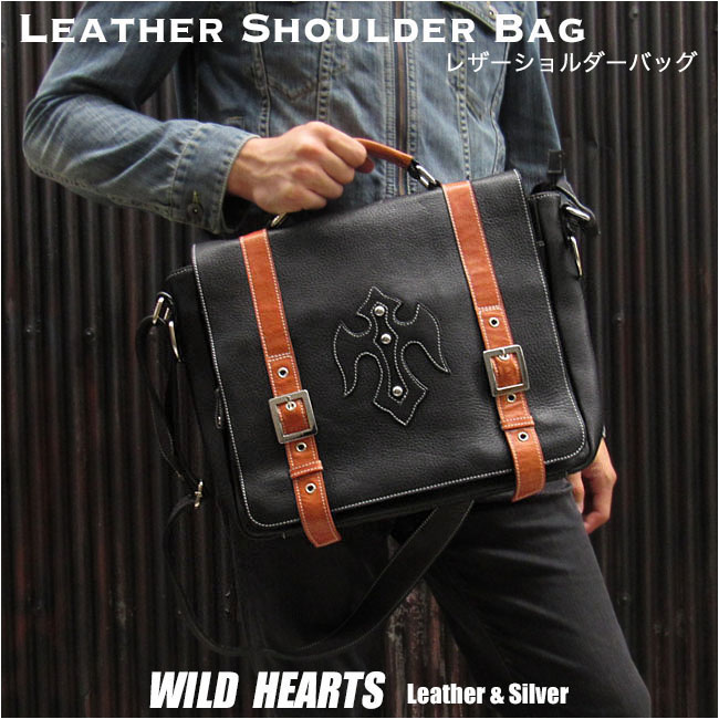 メンズ 本革 ビジネスバッグ レザーショルダーバッグ メッセンジャーバッグ Best Quality genuine Leather Business Bag Shoulder/Messenger BagWILD HEARTS Leather&Silver(ID bb3356t5)