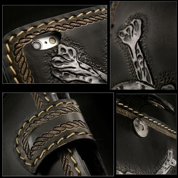 정품 가죽 아이폰 6/6s/7 플립 케이스 지갑 커버 해골 및 뼈 조각 맞춤 수제  Genuine Leather iPhone 6/6s iPhone 7 Flip Case Wallet Cover Skull&Bones Carved Custom Handmade WILD HEARTS Leather&Silver (ID ip2577r101)