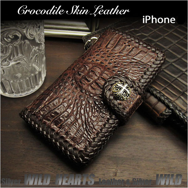 88fc61429c Crocodile Skin Leather iPhone X,XS/Plus,XS Max/XR Flip Case Wallet Cover  Custom WILD HEARTS Leather&Silver (ID ip2877r45)
