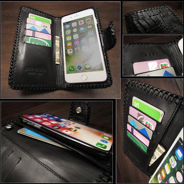 buy popular 67da1 6d503 Crocodile Skin Leather iPhone X,XS/ Plus,XS Max/XR Flip Case Wallet Cover  Custom WILD HEARTS (ID ip2878r45)