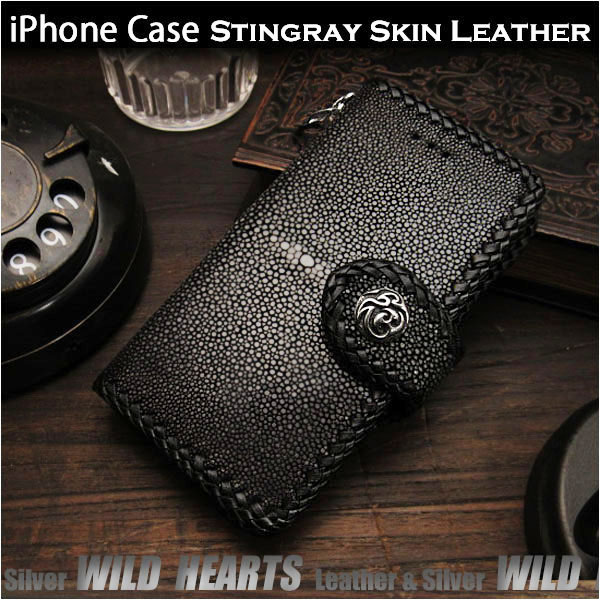 iPhone 6 6s 7 8 X/6 Plus 6s Plus 7 Plus 8 Plus 手帳型 スティングレイ/エイ革 ハンドメイド 財布 Stingray Skin Leather Folder Protective Case Cover For iPhone 6,6s,7,8/Plus,XWILD HEARTS Leather&Silver (ID ip2103r27)