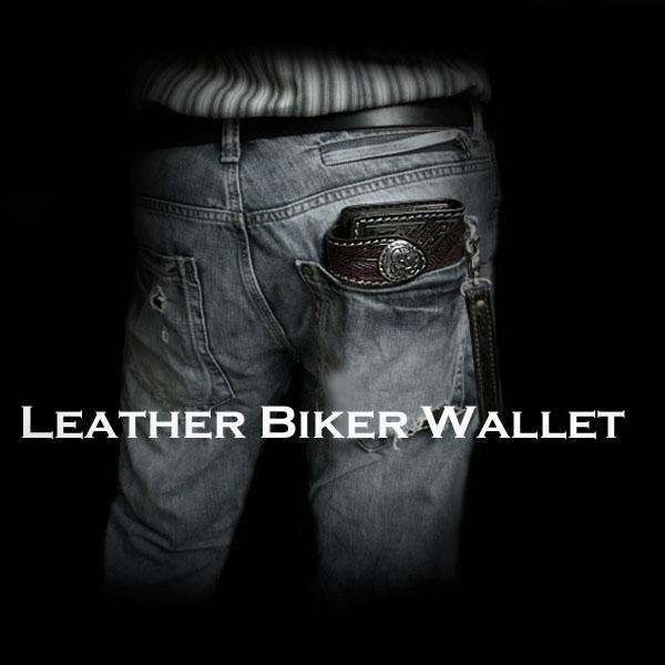 아메리칸 인디언 새겨진 가죽 자전거 타는 사람 지갑 나바호어 아메리카 원주민  Indian Carved Leather Biker Wallet Navajo Native american /WILD HEARTS Leather&Silver