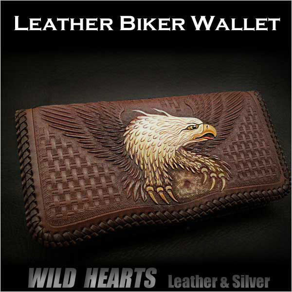 長財布 ロングウォレット 財布 イーグル カービング サドルレザー メンズMen's Wallet Biker Wallet Eagle Hand Carved Leather Genuine Cowhide Handcrafted Custom HandmadeWILD HEARTS Leather&Silver (ID lw2934)