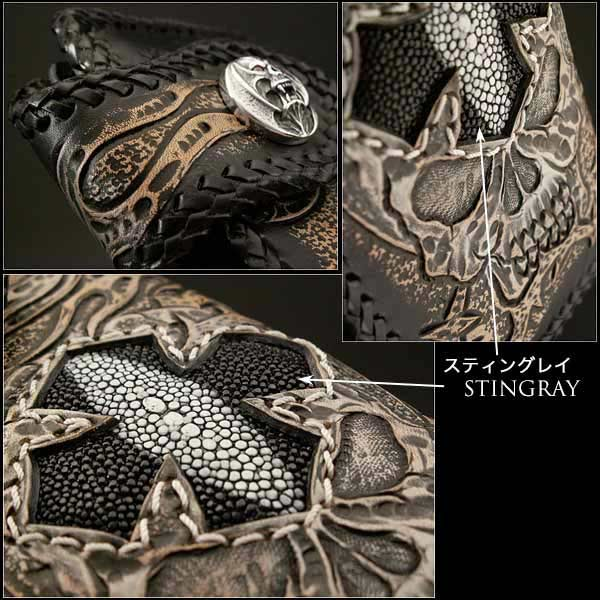 Biker Wallet Skull Hand Carved Leather Genuine Cowhide Stingray Handcrafted Custom Handmade! WILD HEARTS Leather & Silver (ID lw0818)