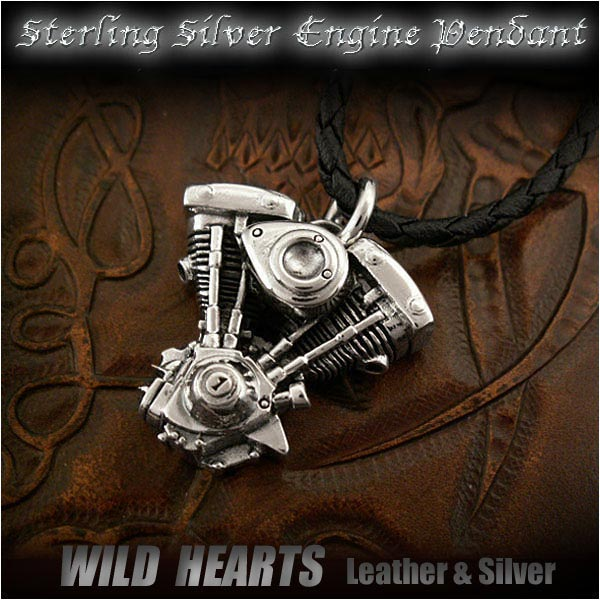 할리 데이비슨 오토바이 엔진 V-트윈, 삽 진화 엔진 스털링 실버 펜던트 목걸이Harley Davidson Motorcycle Engine V-Twin, Shovel Evolution Engine Sterling Silver Pendant Necklace WILD HEARTS Leather&Silver (Item ID pt2786)