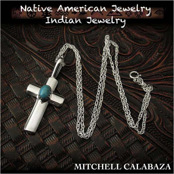 新品 インディアンジュエリー ペンダント ネックレスチェーン/45cm 付きスリーピングビューティー ターコイズ シルバー925ミッシェル・カラバザ Indian Jewelry sterling silver necklace chain#17 3/4 pendant sleeping beauty turquoise (ID na3205r73)