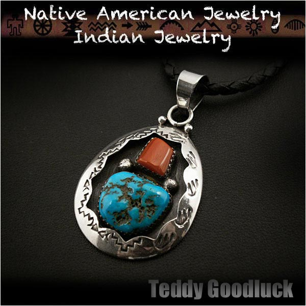 Wild hearts rakuten global market teddy goodluck native teddy goodluck native american indian jewelry sterling silver turquoise red coral pendant mozeypictures Images