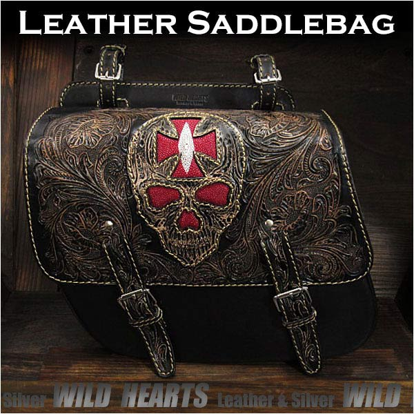 バイク サドルバッグ 本革 カービング ハーレー ブラック スティングレイ スカル/ドクロSkull Carved Leather Single/Solo Saddlebag Motorcycle Harley-Davidson Black StingrayWILD HEARTS Leather&Silver (ID sb3565)