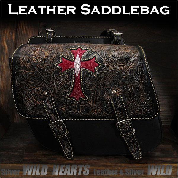バイク サドルバッグ 本革 カービング ハーレー ブラック スティングレイ クロス/十字架Cross Carved Leather Single/Solo Saddlebag Motorcycle Harley-Davidson Black StingrayWILD HEARTS Leather&Silver (ID sb3566)