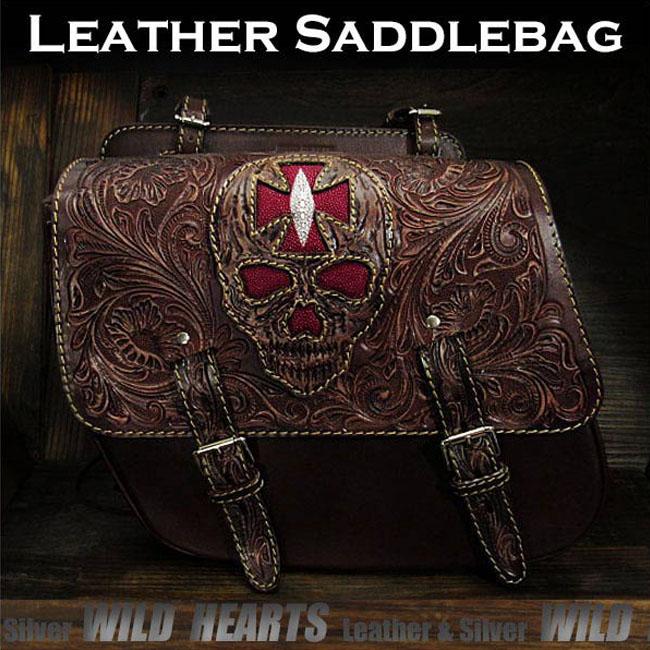 バイク サドルバッグ 本革 カービング ハーレー ブラウン スティングレイ スカル ドクロSkull Carved Leather Single/Solo Saddlebag Motorcycle Harley-Davidson Brown StingrayWILD HEARTS Leather&Silver (ID sb3568)
