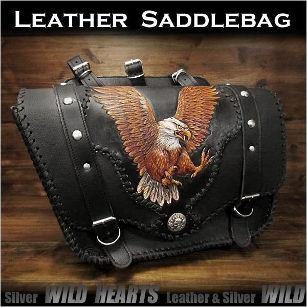 バイク サドルバッグ イーグル カービング ハーレー カスタムEagle Carved Leather Single Saddlebag Harley-Davidson Sportster iron 883/Forty-Eight MotorcycleWILD HEARTS Leather&Silver (ID sb3480)