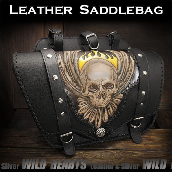 バイク サドルバッグ スカル/ドクロ カービング ハーレー カスタムSkull Carved Leather Single Saddlebag Harley-Davidson Sportster iron 883/Forty-Eight MotorcycleWILD HEARTS Leather&Silver (ID sb3484)