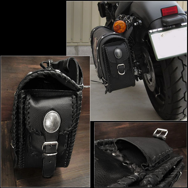 Skull Carved Leather Single Saddlebag Harley Davidson Sportster Iron 883 Forty Eight Motorcycle WILD HEARTS LeatherSilver ID Sb3481