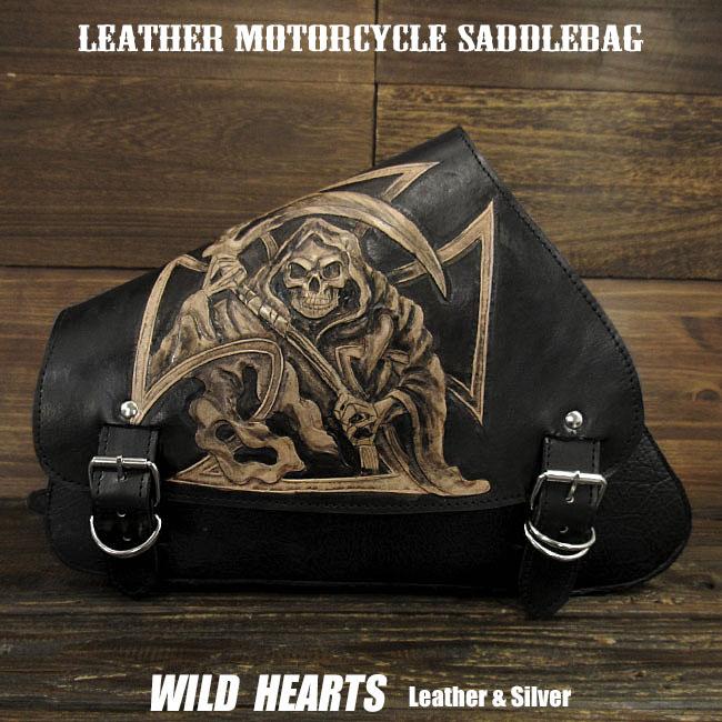 サドルバッグ スイングアーム スカル カービング ハーレー スポーツスター Skull Carved Leather Leather Swing Arm Saddlebag Harley Sportster XL Iron 883N/Forty-EightWILD HEARTS Leather&Silver (ID sb3953)