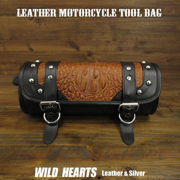 レザー 本革 ツールバッグ クロコダイル/型押し バイク/ハーレー Leather Motorcycle Tool Bag Mini Saddle Crocodile/Embossed LeatherWILD HEARTS Leather&Silver (ID sb3878)