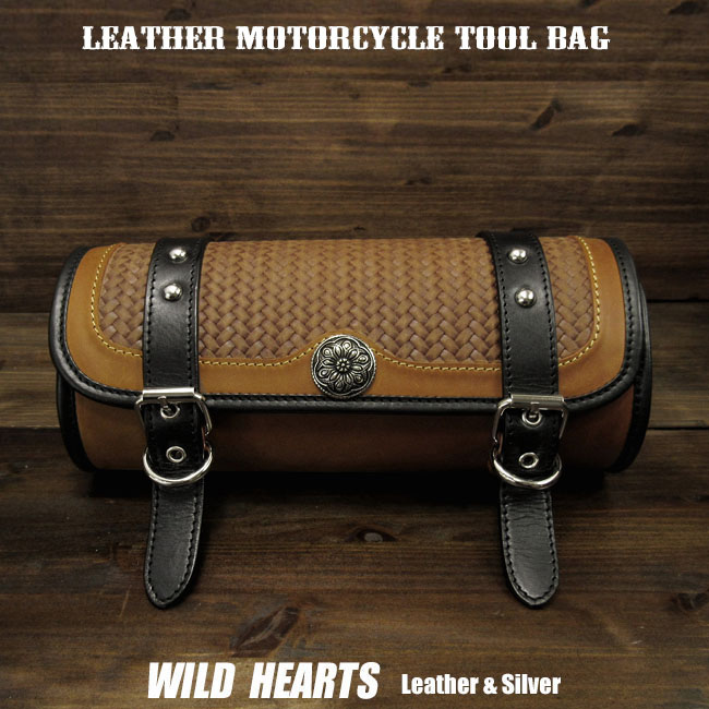 ツールバッグ レザー 本革 フォークバッグ コンチョ付き バイカー/ハーレー カスタム  Leather Tool Bag Mini Saddle Bag Storage Tool Pouch for Motorcycle Harley-DavidsonWILD HEARTS Leather&Silver (ID tb3943)