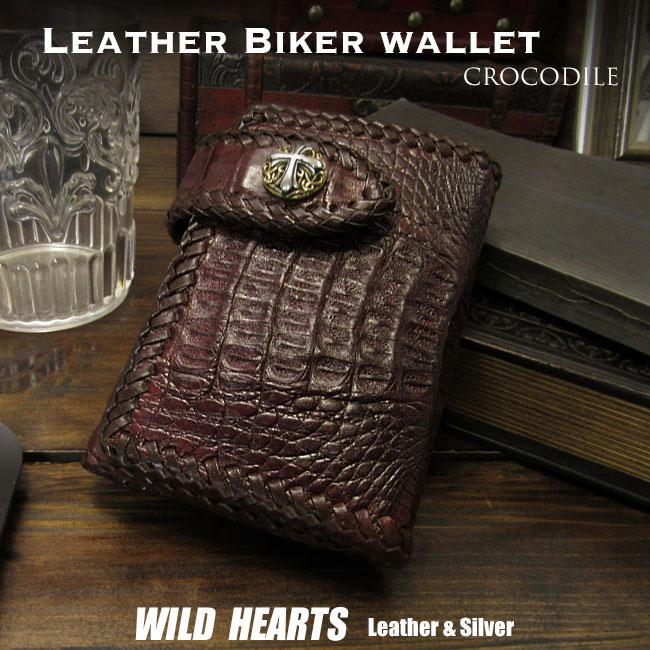 財布 クロコダイル 三つ折り財布 ワニ革 ショートウォレット ミドルウォレット ダークブラウン Genuine Crocodile Skin Leather Trifold Biker Wallet Dark BrownWILD HEARTS Leather&Silver(ID lw4077r7)