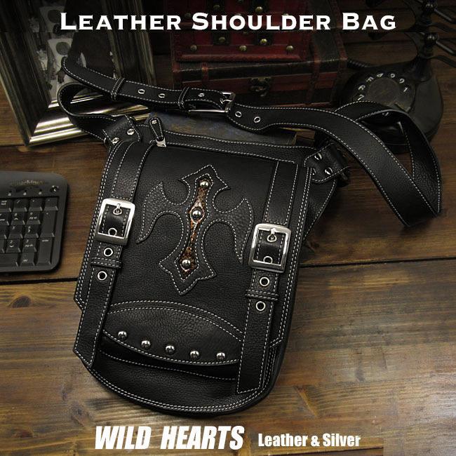 メンズ レザー 本革 ショルダーバッグ クロス 斜め掛け カジュアル パイソン ブラック/黒Men's Genuine Leather Casual Shoulder Bag Cross ConchoWILD HEARTS Leather&Silver (ID bb0658t17)