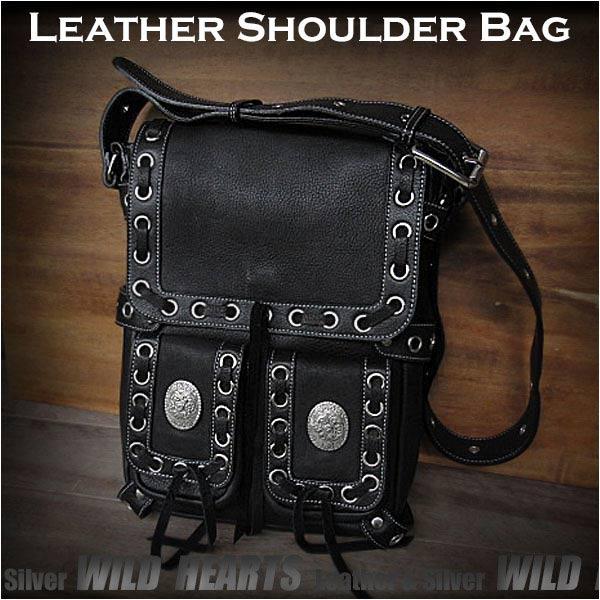送料無料 ショルダーバッグ メンズバッグ 肩掛け Cowhide Leather shoulder bag Mens Messenger bag BlackWILD HEARTS Leather&Silver (ID sb1490k10)