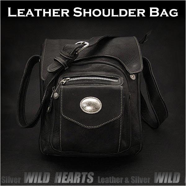 ショルダーバッグ レザー/牛革 メンズ メッセンジャーバッグ ブラック/黒 Leather Shoulder Bag Mens Messenger Bag Black WILD HEARTS Leather&Silver(ID sb1692t35)