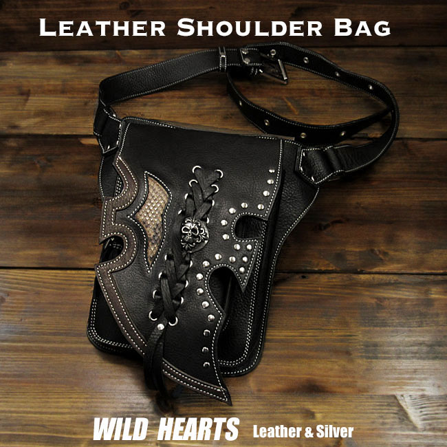 送料無料 レザーショルダーバッグ ウエストバッグ ヒップバッグ 2WAY Men's Genuine Leather Biker Fanny Pack Waist Bag Shoulder Bag Skull ConchoWILD HEARTS Leather&Silver(ID sb1245r61)
