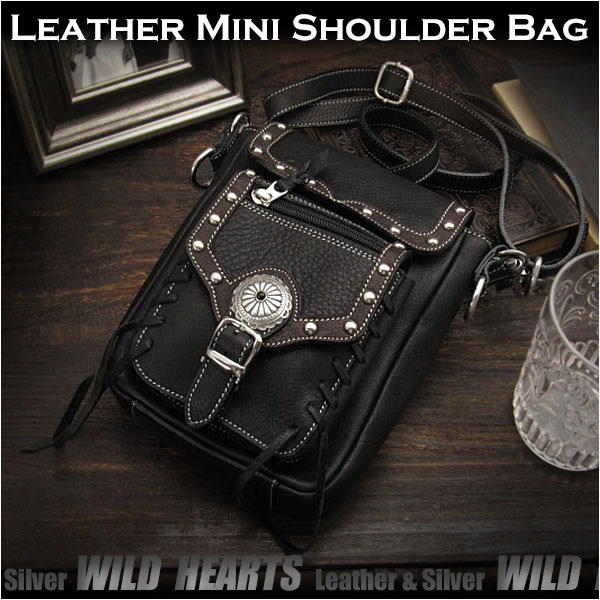 レザーショルダーバッグ ポーチ ブラックBest Quality genuine leather Leather Shoulder Travel Bag/PurseWILD HEARTS Leather&Silver(ID sb1243b28)