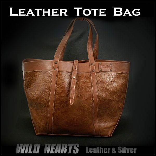 メンズバッグ レザートートバッグ ショルダーバッグ 花柄カービング Genuine Leather Cowhide Mens Tote Bag Shoulder Bag Oversize Large size WILD HEARTS leather&silver (ID tb2259)