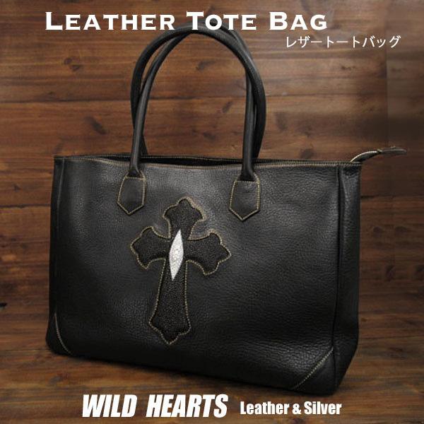 メンズ ビジネス レザートートバッグ ショルダーバッグ スティングレイ クロス ブラック Genuine Leather Cowhide Mens Tote Bag Business Bag Stingray Cross WILD HEARTS leather&silver (ID tb3530)