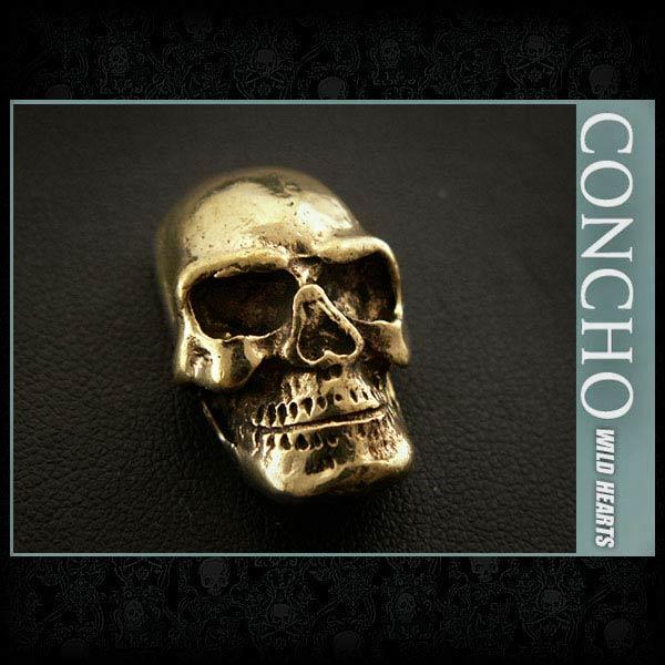 Skull Concho Brass WILD HEARTS Leather&Silver (Item ID cc2847)