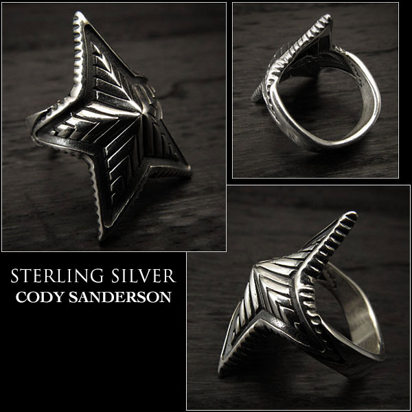 Cody Sanderson Depp Star Ring Size US#9 Native American Indian Jewelry Sterling Silver Navajo (ID na3177r73)