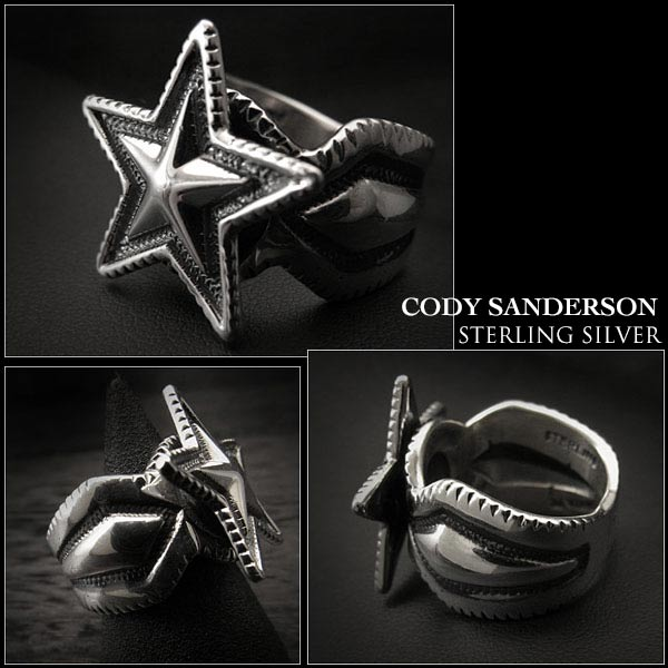 Cody Sanderson Small Star Ring Size US #8 Native American Indian Jewelry Sterling Silver Navajo (ID na3180r73)