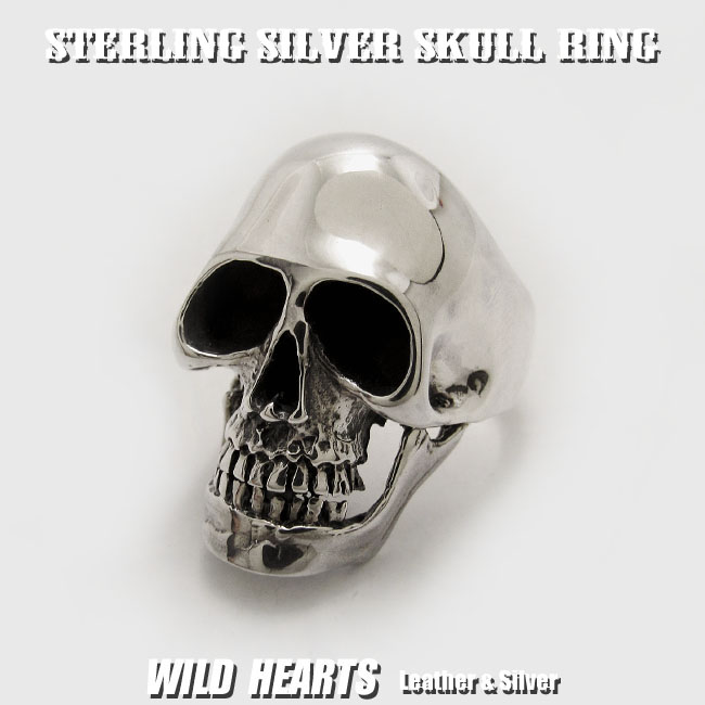 シルバースカルリング 指輪 シルバー925 スカル ドクロ 髑髏 STERLING SILVER RING Gothic Skull Ring Punk RockWILD HEARTS(ID trs0193)
