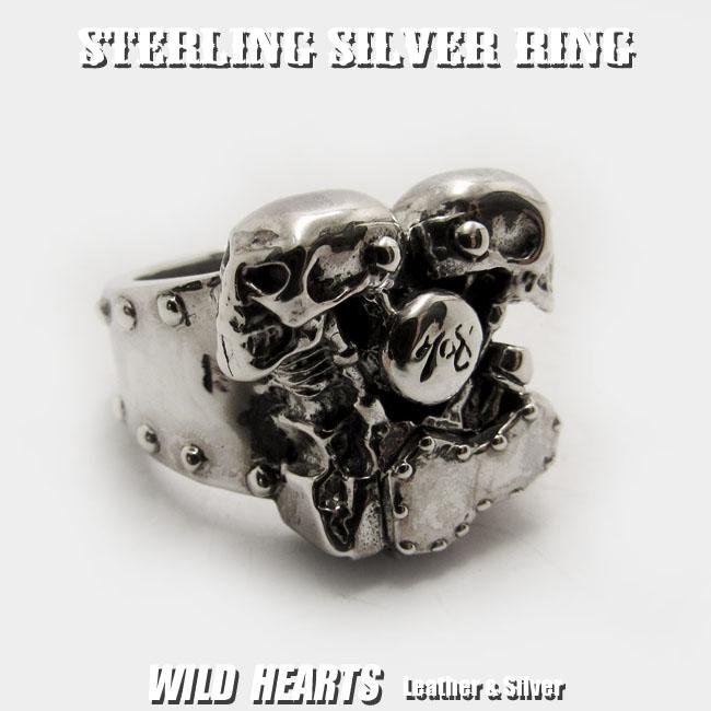 スカル ハーレー ナックル/パンヘッド リング エンジンモチーフリング シルバー製リング ハーレーダビッドソン シルバーアクセサリ Harley Davidson Skull Knuck/Pan headle Engine/Sterling Silver RingWILD HEARTS Leather&Silver (ID trs0119)