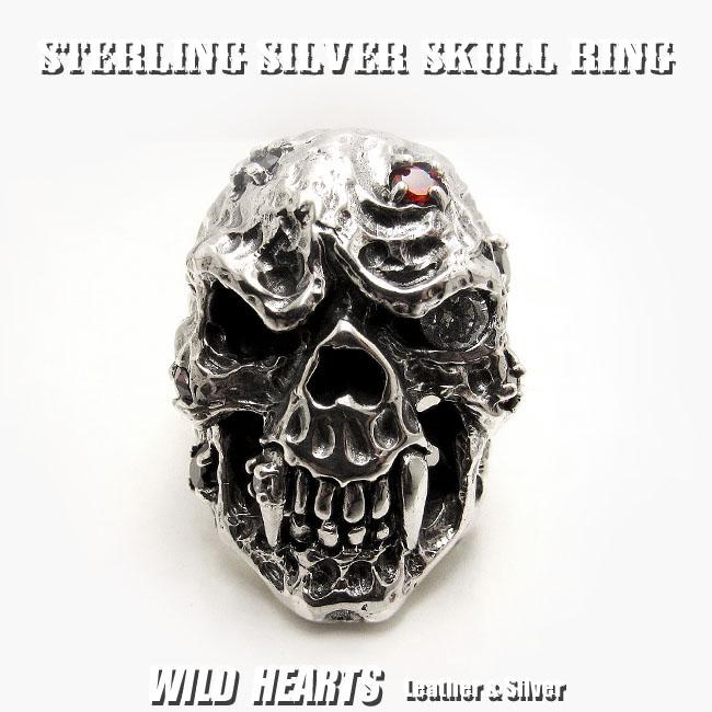 シルバーリング/指輪/シルバー925/髑髏/スカル/ジルコニア/STERLING SILVER RING/skull/zirconia(ID sr0788r81)