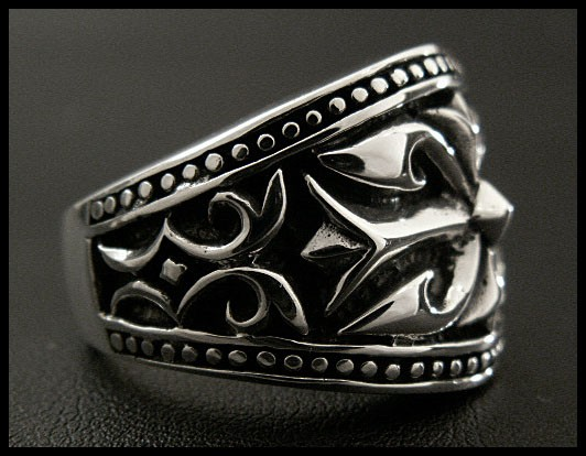 STERLING SILVER RING/ARABESQUE CROSS/Silver 925 Ring WILD HEARTS Leather&Silver (ID sr0772kr406)